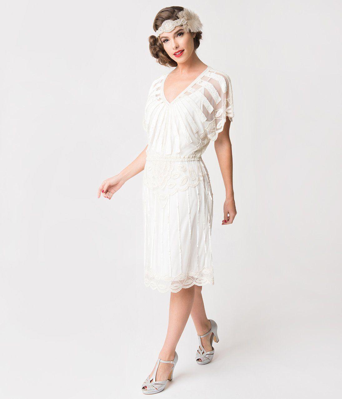 1920s Style White Bead Embellished Deco Angel Sleeve