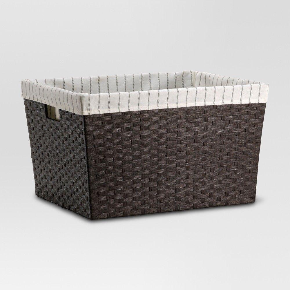 Lined Laundry Basket Dark Brown Weave 12 X16 X20 Threshold