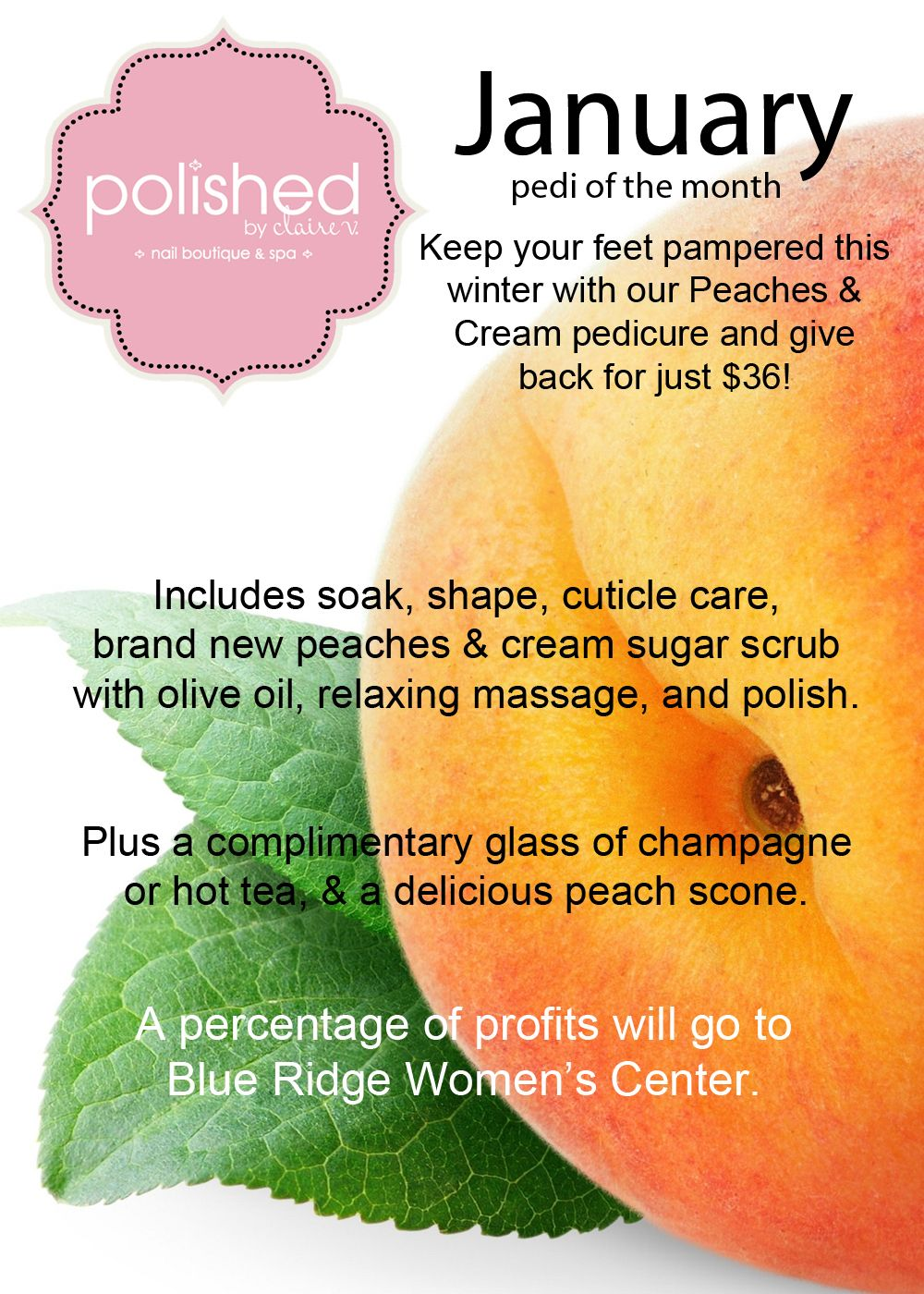 january peaches and cream pedi of the month! book to