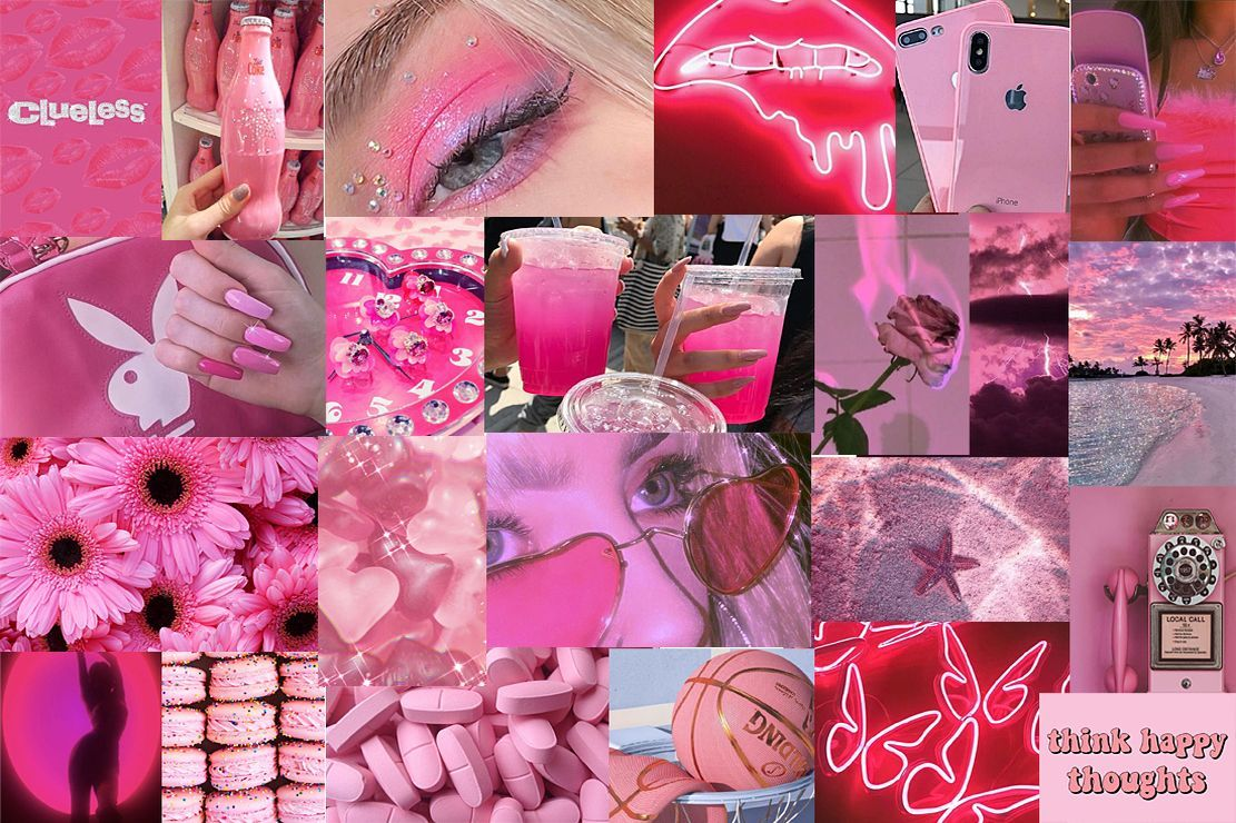 Pink Aesthetic Bedroom Wall Collage Wallpaper Backgrounds Tumblr Aesthetic Picture Pink Desktop Wa