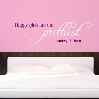 Happy Girls are the Prettiest - Audrey Hepburn - Wall Decals Stickers Graphics