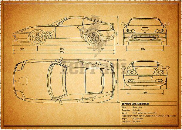 Ferrari 550 blueprint art print by mark rogan modelos de carros ferrari 550 blueprint art print by mark rogan malvernweather Gallery