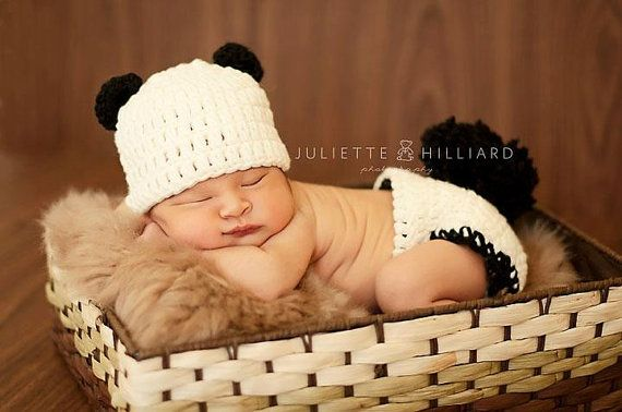 Panda hat - panda diaper cover - panda set - newborn panda - baby ...