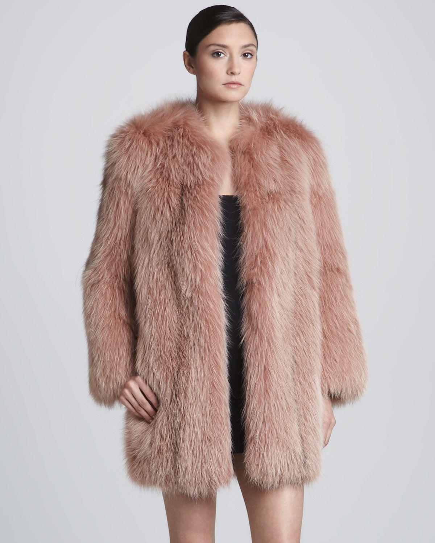 7c3092270 Marc Jacobs Collarless Fox Fur Coat, Rose   Fur coat   Fox fur coat ...