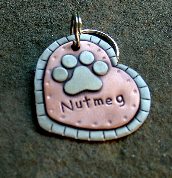 Large Dog ID tag- metal heart pet id tag- dog name tag with