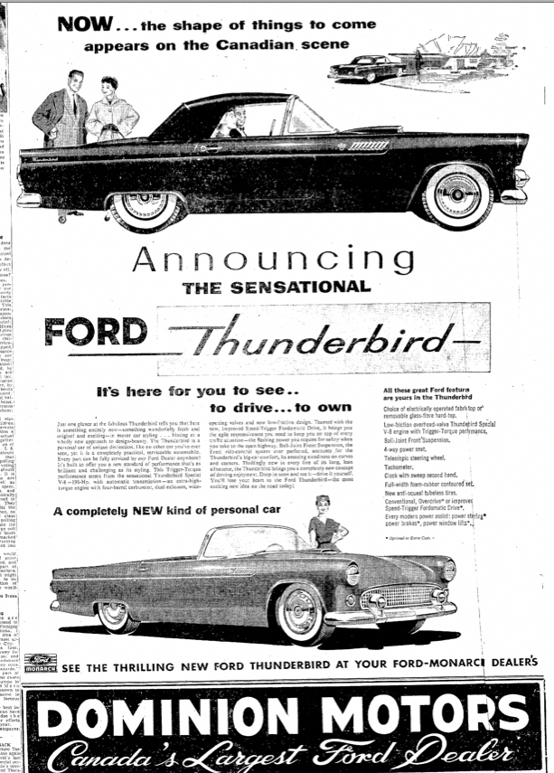 1955 ford thunderbird introduction in canada  fordclassiccars