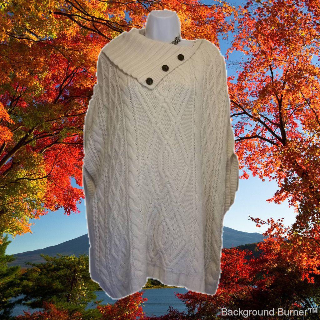 Ann taylor sweater poncho. Buy today @  http://www.bonanza.com/listings/Ann-Taylor-White-Knit-Poncho-Size-M-or-L-Beautiful/292385592