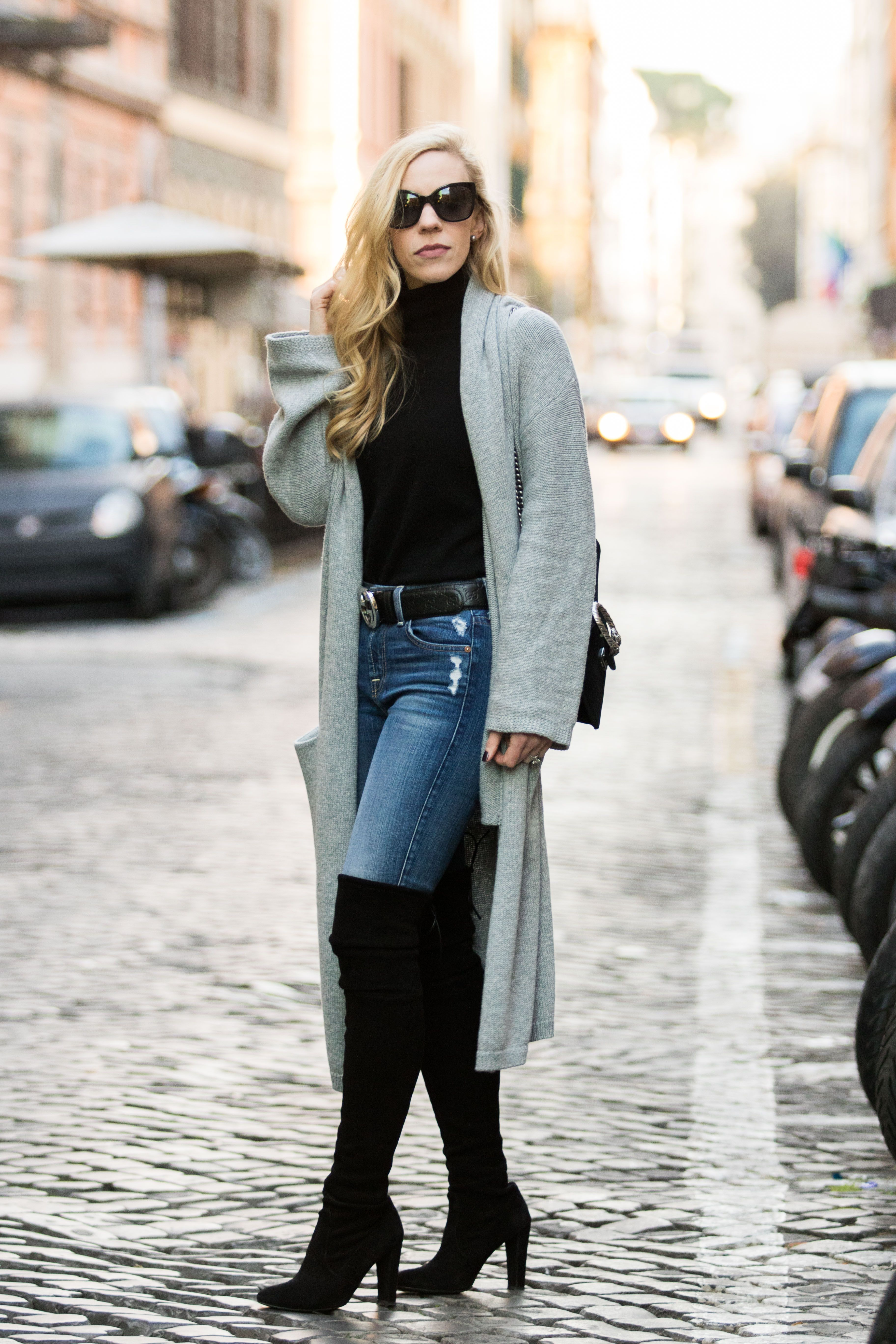d9798add1 Rome Street Style: long gray cardigan with black turtleneck, Gucci belt and  Stuart Weitzman Highland over-the-knee boots
