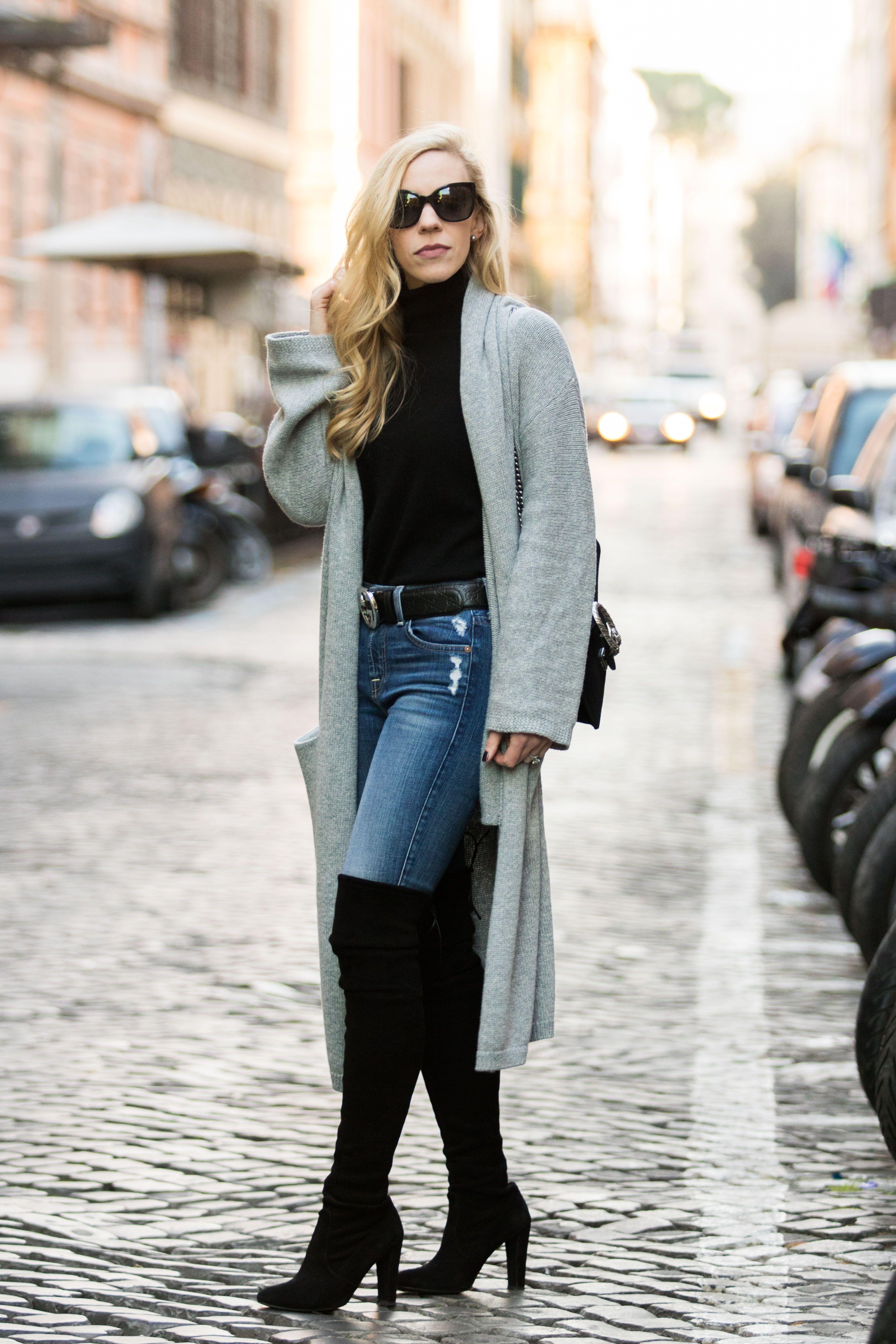 Rome Street Style Long Gray Cardigan With Black Turtleneck Gucci Belt And Stuart Weitzman