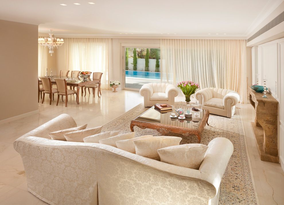 Bright And Tropical Living Room Design With A White Marble Flooring Marble Floor Home Int Beige Living Rooms Beige Living Room Furniture Trendy Living Rooms