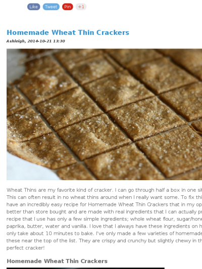 Check out this mad mimi newsletter biscuits pinterest wheat these homemade wheat thin crackers take about 10 minutes to make from one of my fav healthy foodies solutioingenieria Image collections