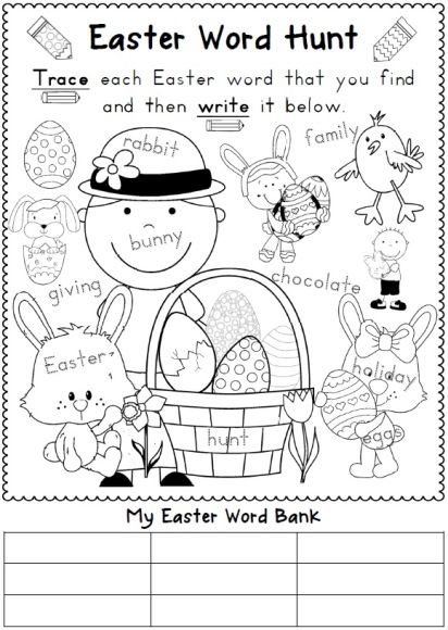 Easter Reading and Writing Worksheets | Easter worksheets, Hunt's ...