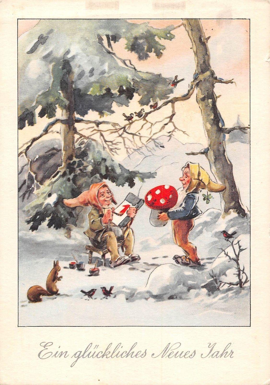 Ein glueckliches Neues Jahr dwarfs 1st Jan, mushroom 1951 ...