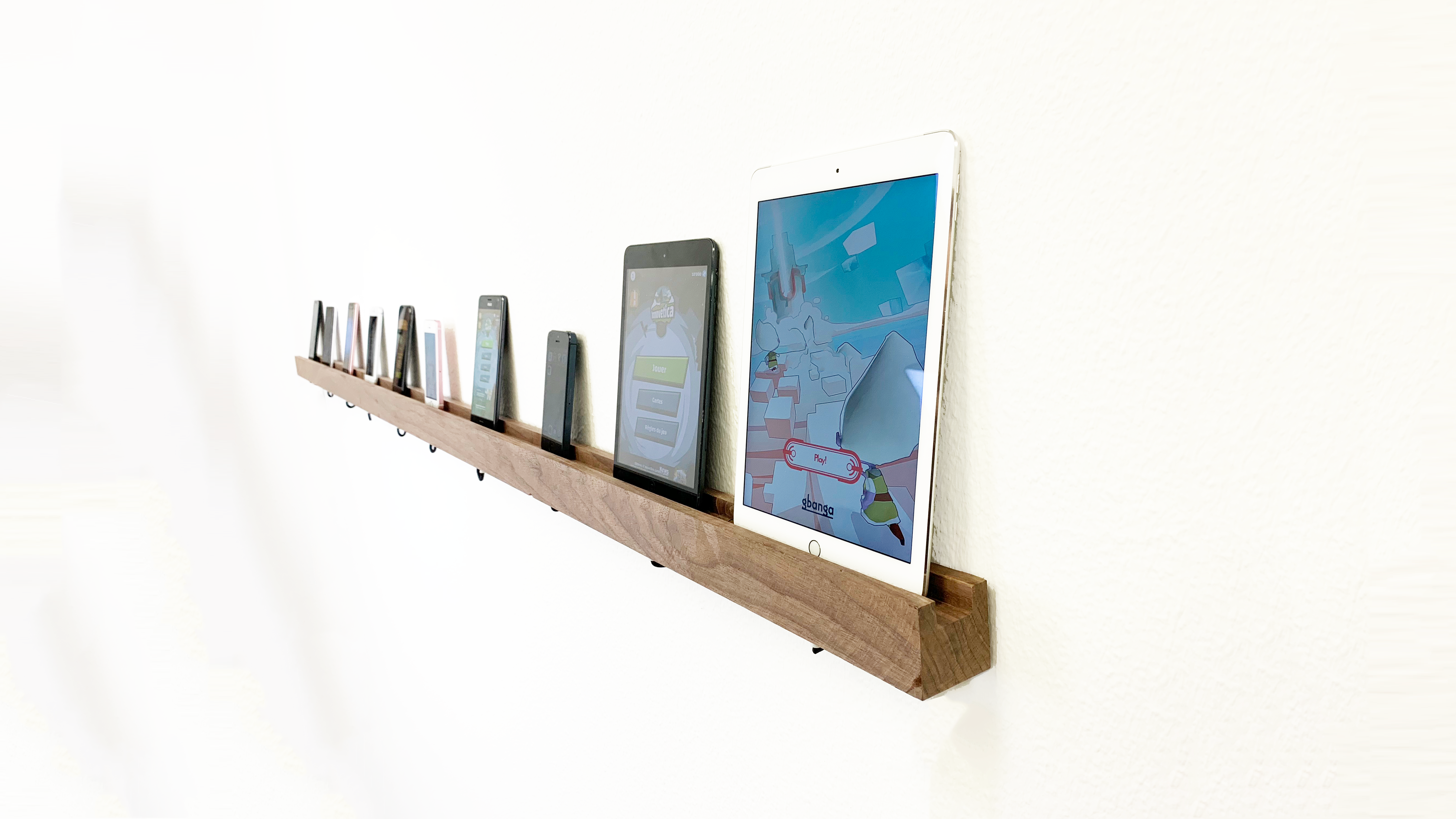 Device Shelf. The timeless solid wood cradle for your