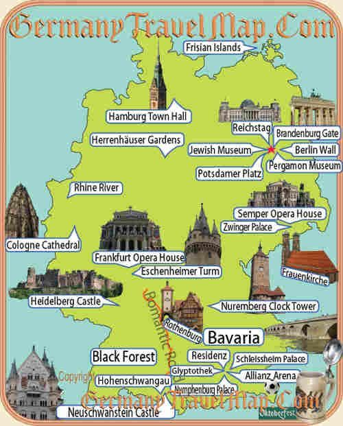 cool Germany Map Tourist Attractions Travelquaz Pinterest