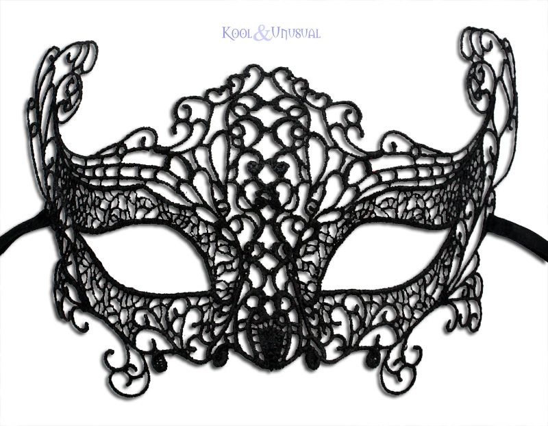 Venetian Masquerade Mask Burano Lace Black Cos Ins Bl