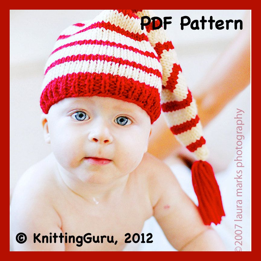 Knit Baby Hat Pattern Tutorial - Stocking Cap Pixie Elf Christmas ...
