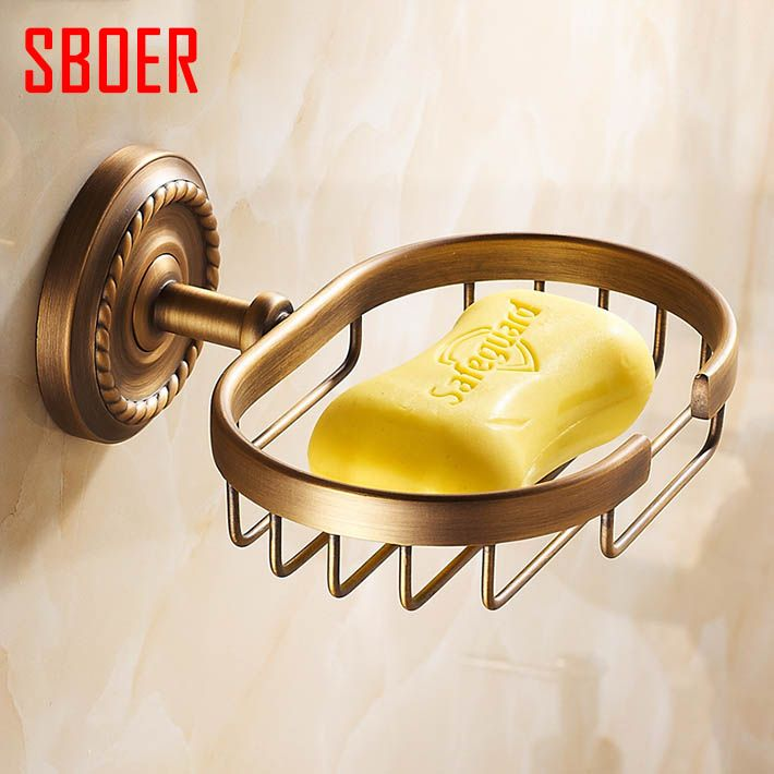Vintage Style Wall Mount Bath Shower Antique Brass Soap Baskets ...