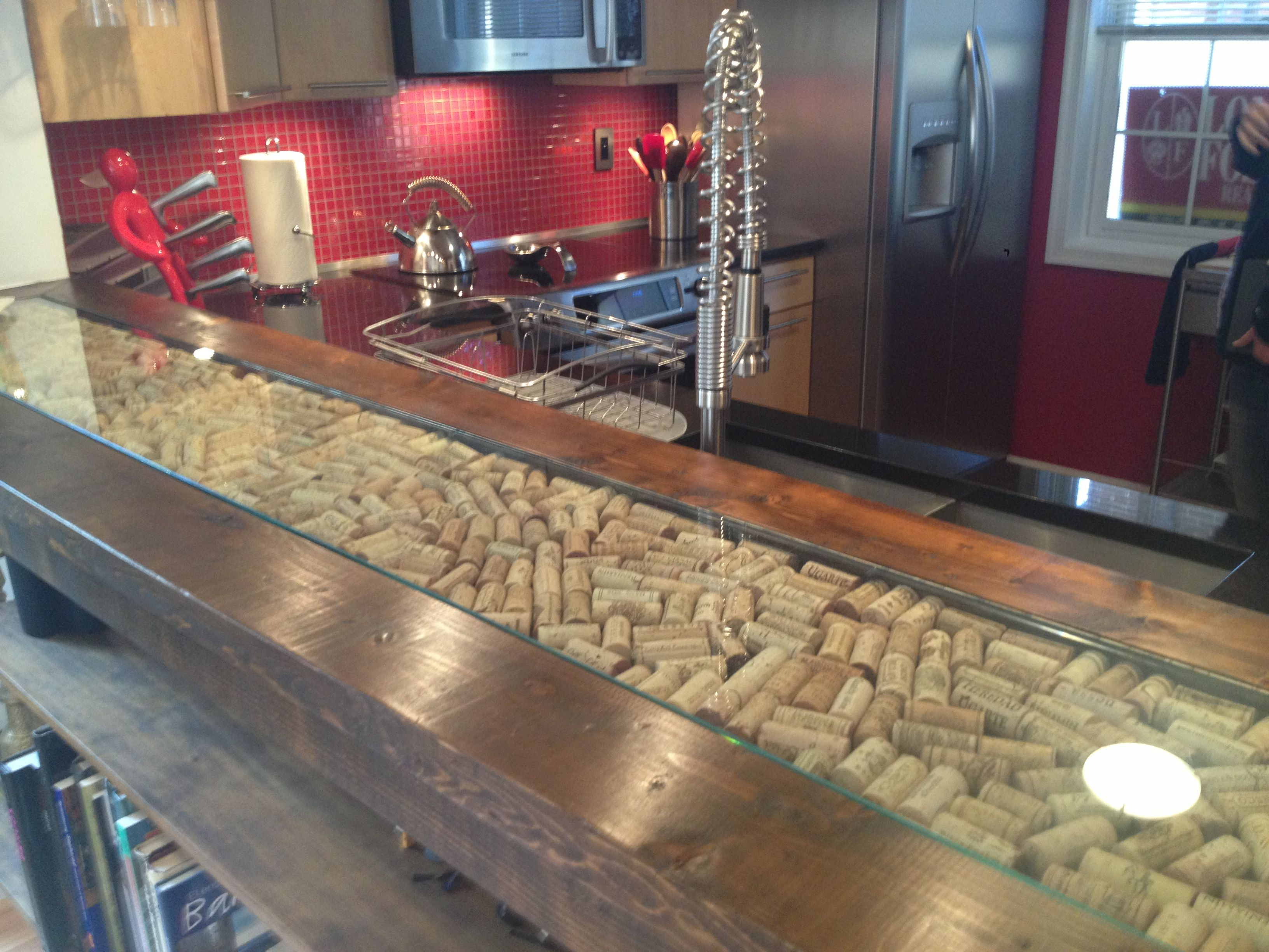 Bar counter top with wine cork inlay brewpub for Wine cork bar top