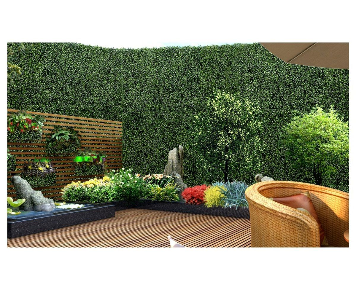 10x Artificial Boxwood Hedge Fake Vertical Garden Green