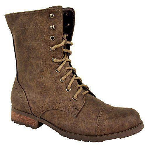 d9dd575e4e831 Women Lace up Military Combat Ankle Boots: Amazon.co.uk: Shoes ...