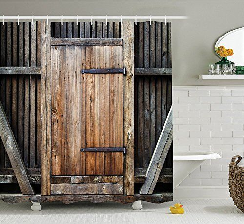 Rustic Wooden Door Polyester Shower Curtain Set, 3D Shower Curtain For  Bathroom, 72W X