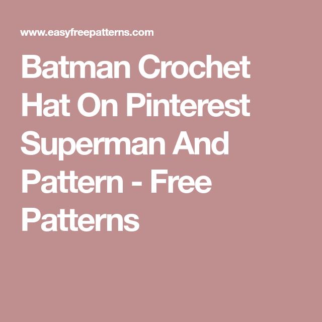 Batman Crochet Hat On Pinterest Superman And Pattern - Free Patterns ...