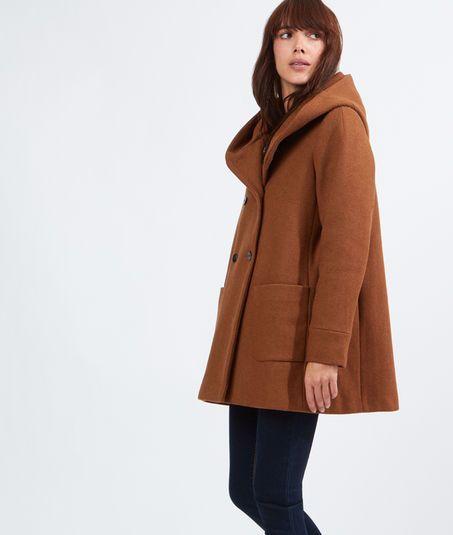manteau laine noir capuche évasé