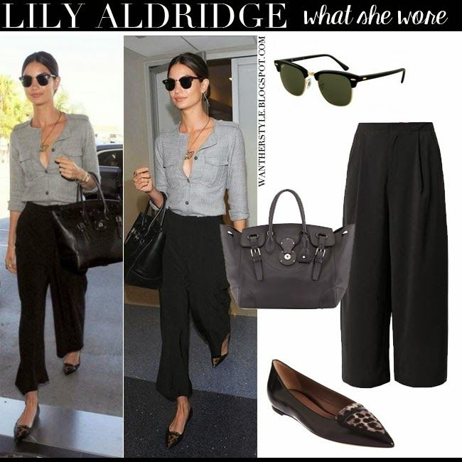 Lily Aldridge in black wide leg pants with black tote and black ...