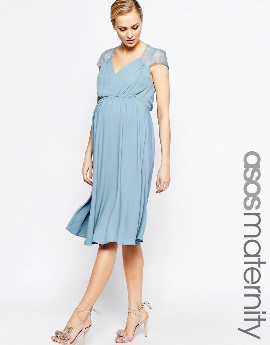 ASOS Maternité | ASOS Maternity - Kate - Robe mi-longue en dentelle ...