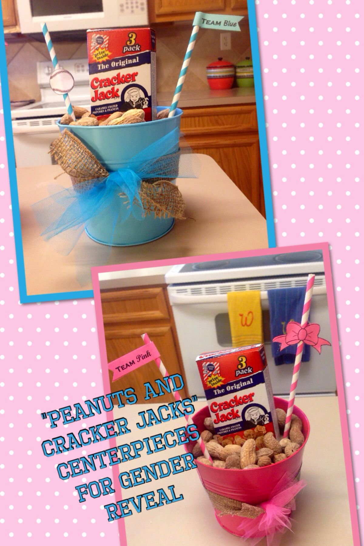 Peanuts Or Cracker Jacks Centerpieces For Our Baseball Or Bows Gender Reveal Party Gender Reveal Party Gender Reveal Party Decorations Gender Reveal