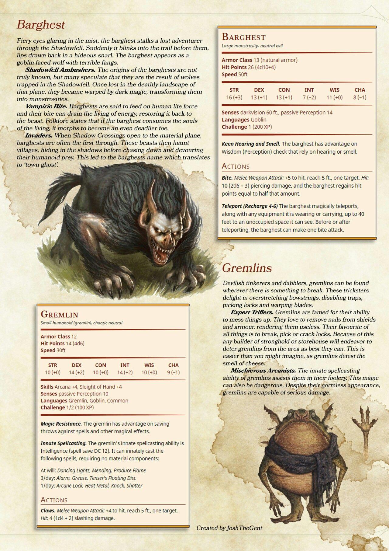 Gremlin / Barghest | DnD | Dnd monsters, Dnd 5e homebrew, Dungeons