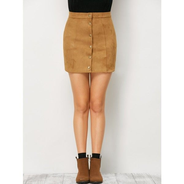 Mini Suede Button Up Skirt ($18) ❤ liked on Polyvore featuring ...