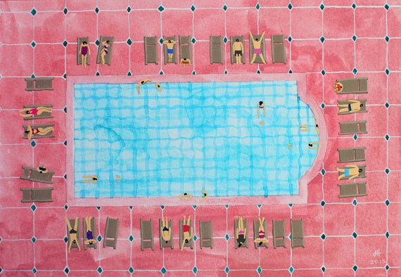 Art Print Of Original Watercolor Painting Pink Pool