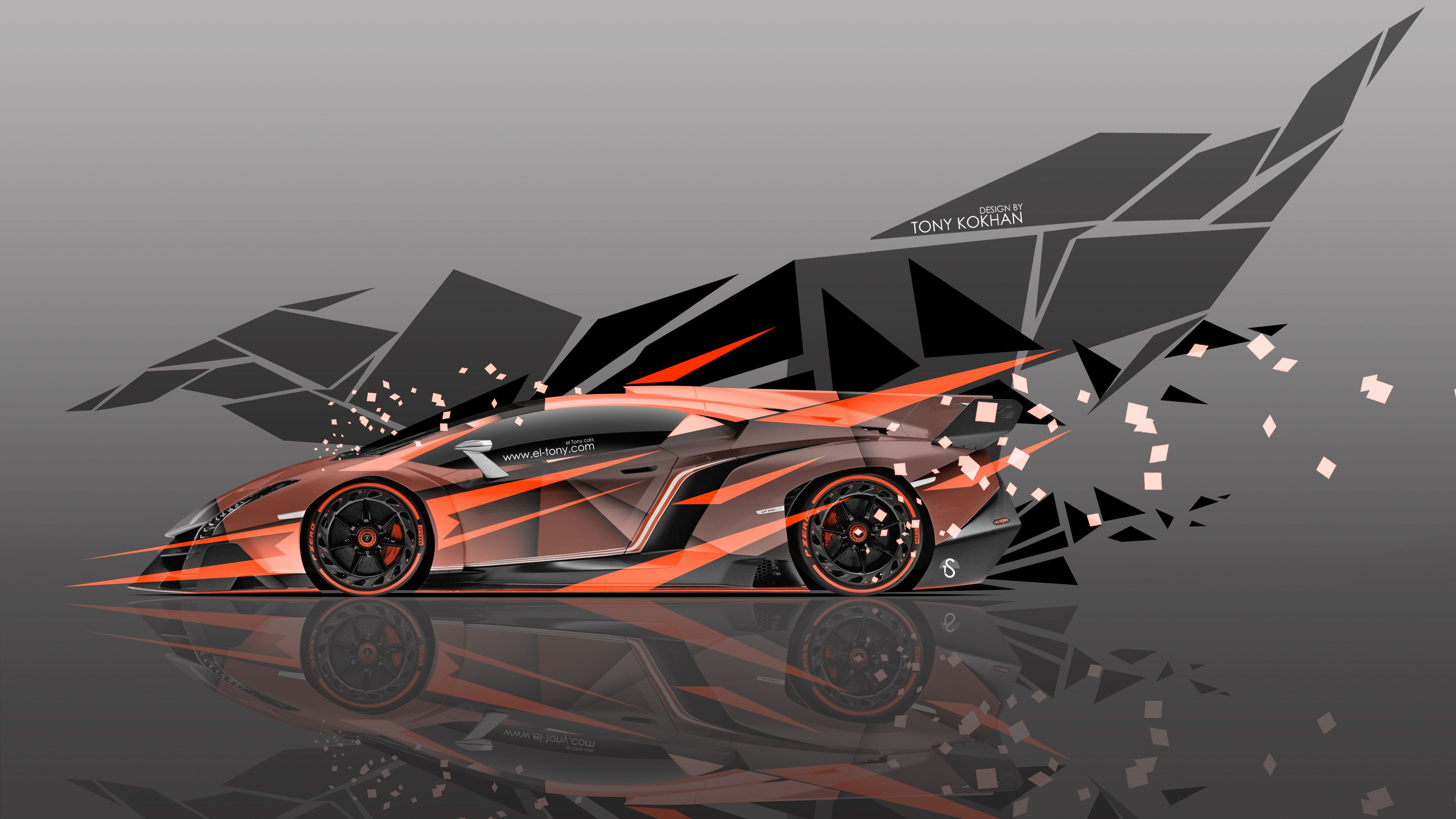 Lamborghini Veneno Side Super Abstract Transformer Aerography Car 2015 Orange Colors 4K Wallpapers Design By Tony Kokhan Www.el Tony.com_  (3840×2160)