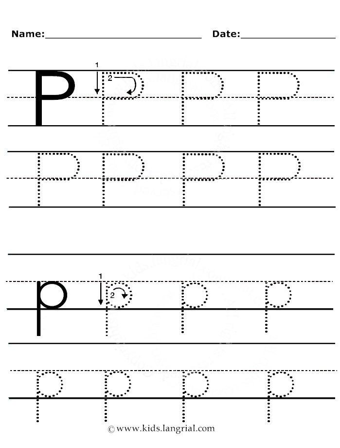 Tracing Worksheets Letter P Worksheets Letter P Free alphabet tracing worksheets for