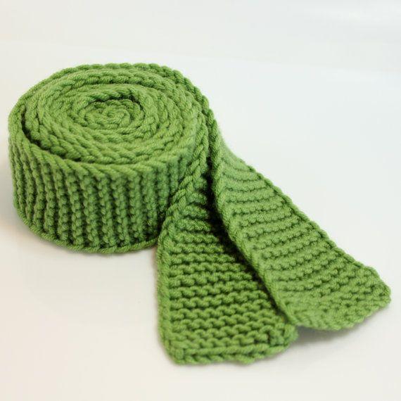 Green Knit Tie for men Mens Ties Knit Ties by KoutureCrochet