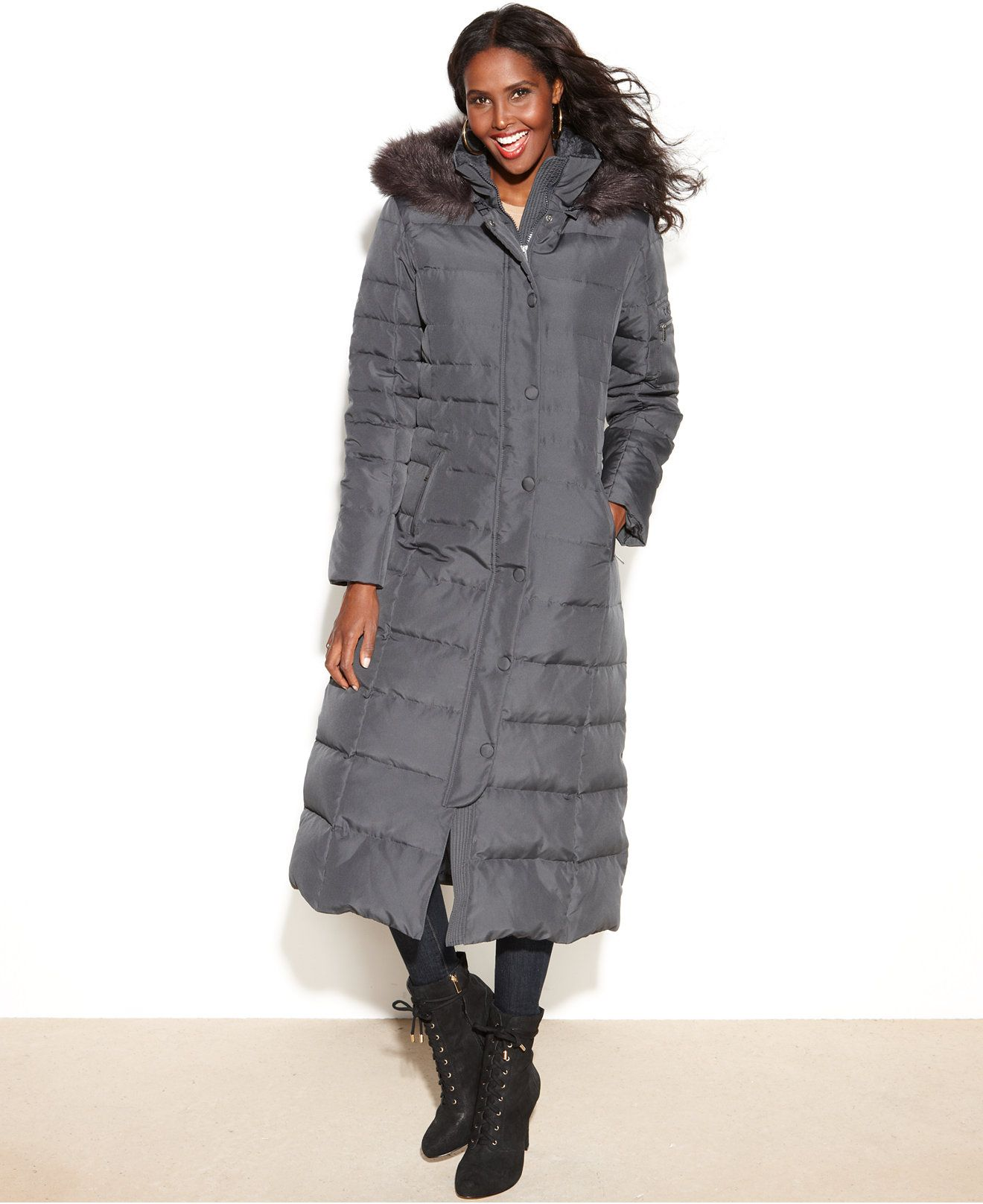 118ae18b78c2c DKNY Petite Hooded Faux-Fur-Trim Maxi Down Puffer Coat - Coats - Women -  Macy s