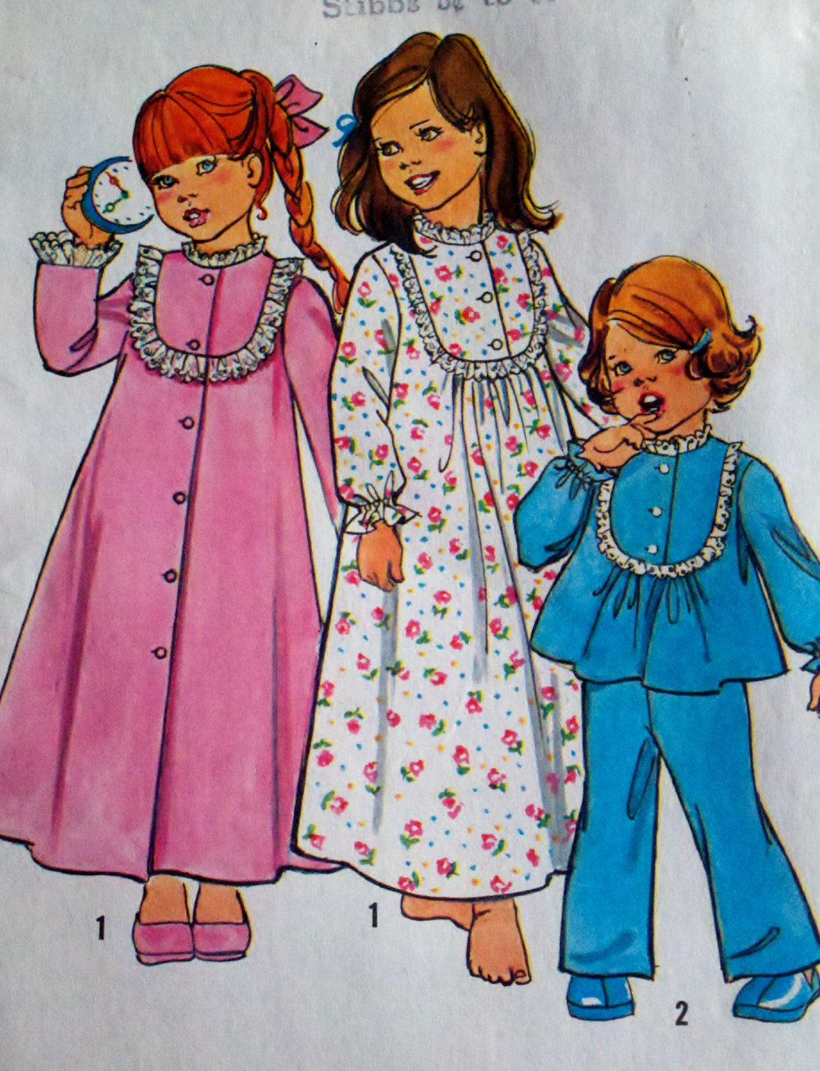 Simplicity 6687 Girls Button Down Robe, Pajamas & Nightgown ...