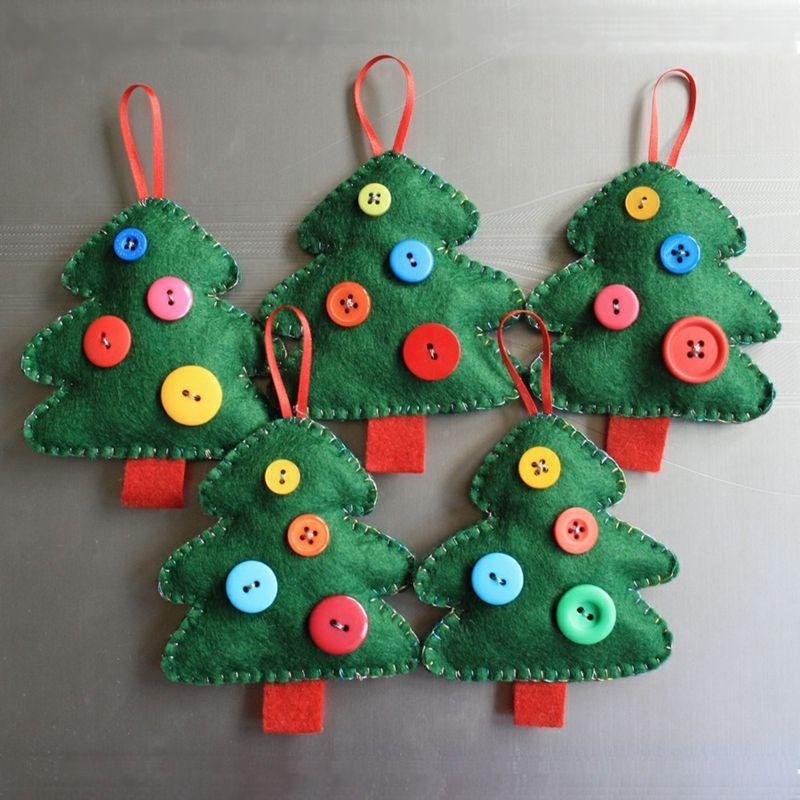 Perfect Weihnachtsbaum Selber Basteln   Fleece Bäume Mit Knöpfen