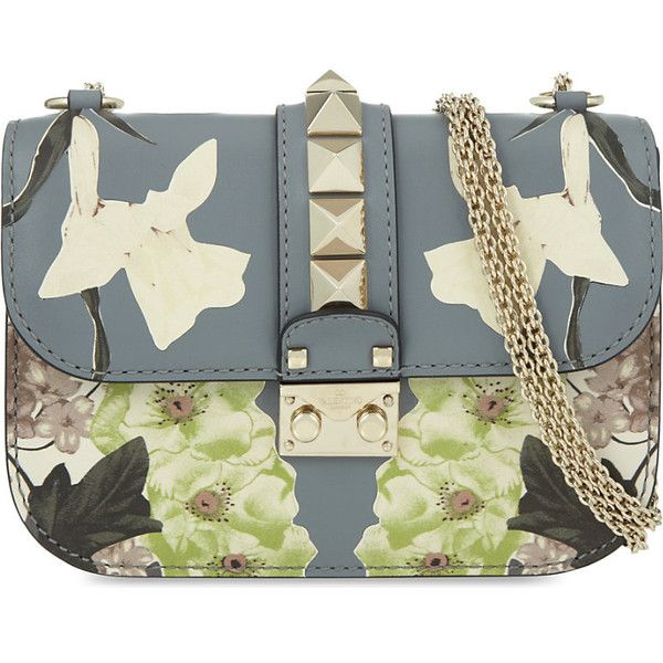 Valentino Rockstud lock small floral leather shoulder bag (6.757.730 COP) ❤ liked on Polyvore featuring bags, handbags, shoulder bags, chain strap purse, chain strap handbag, leather shoulder handbags, chain shoulder bag and chain strap shoulder bag