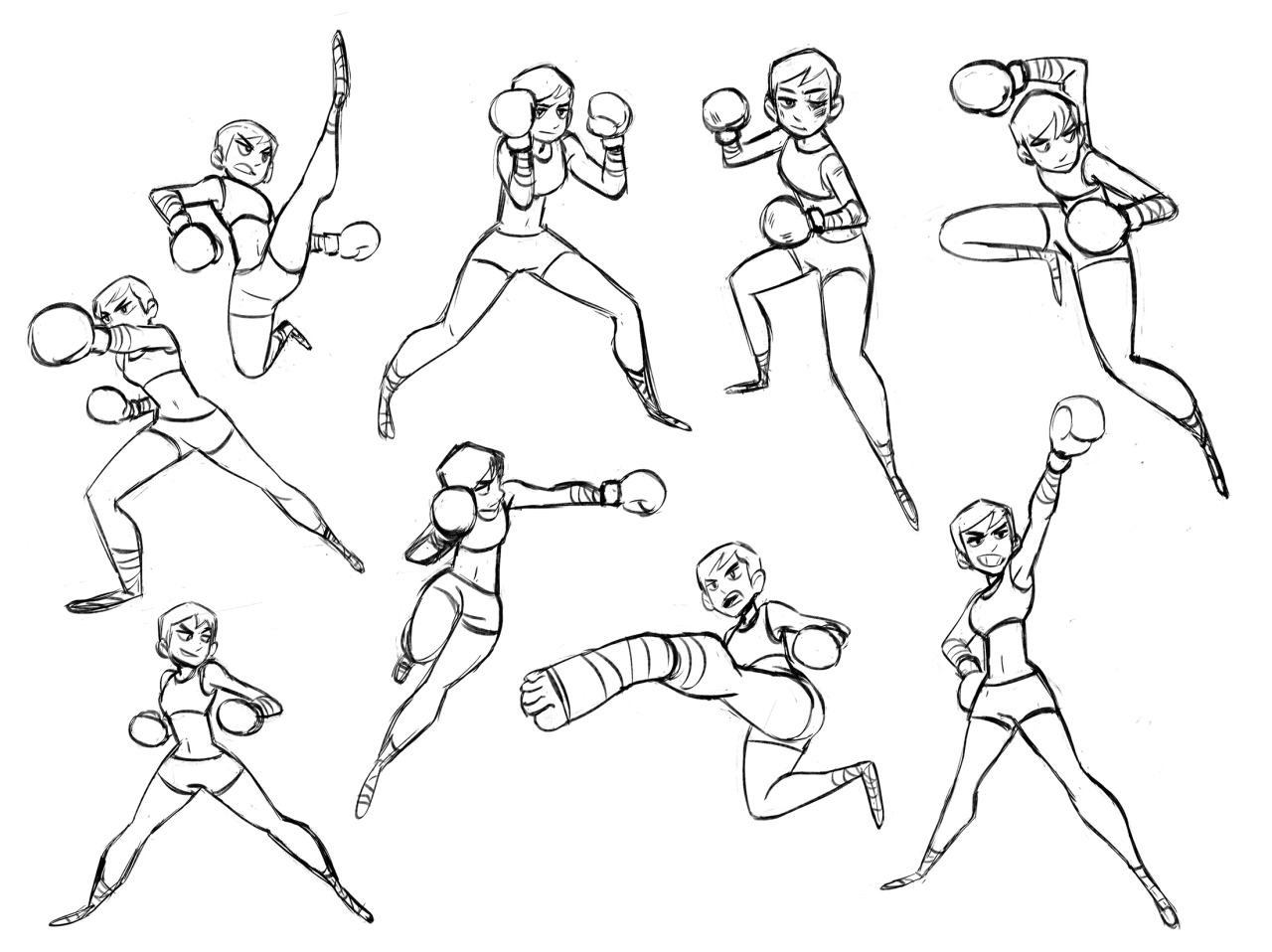 Rotation And Poses For My Kickboxer Character That I Animated Fighting Poses Character Poses Sketch Poses