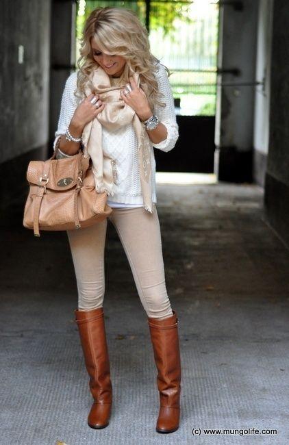 Fall/Winter Outfit: Blush/Pale Pink/Nude/Beige Scarf + White Sweater + Blush/Pale Pink/Nude/Beige/Taupe Skinnies + Tan/Cognac/Caramel Knee High Boots + Tan/Light Brown Bag