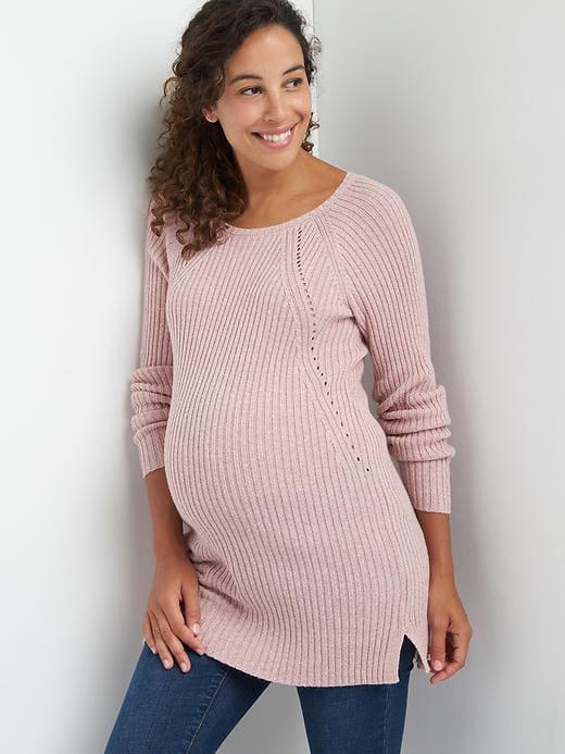 b24910e57ae27 Gap Womens Maternity Pointelle Ribbed Sweater Tunic Princess Pink ...