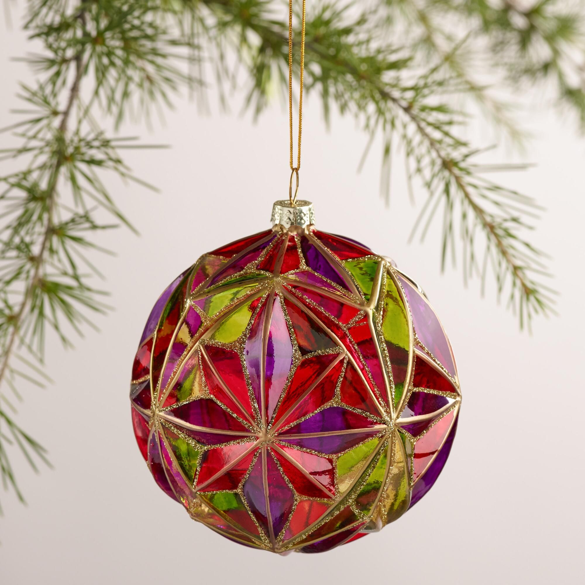 Decorative Christmas Ball Ornaments Multifaceted Glass Ball Ornament  World Market  Cool Ornaments