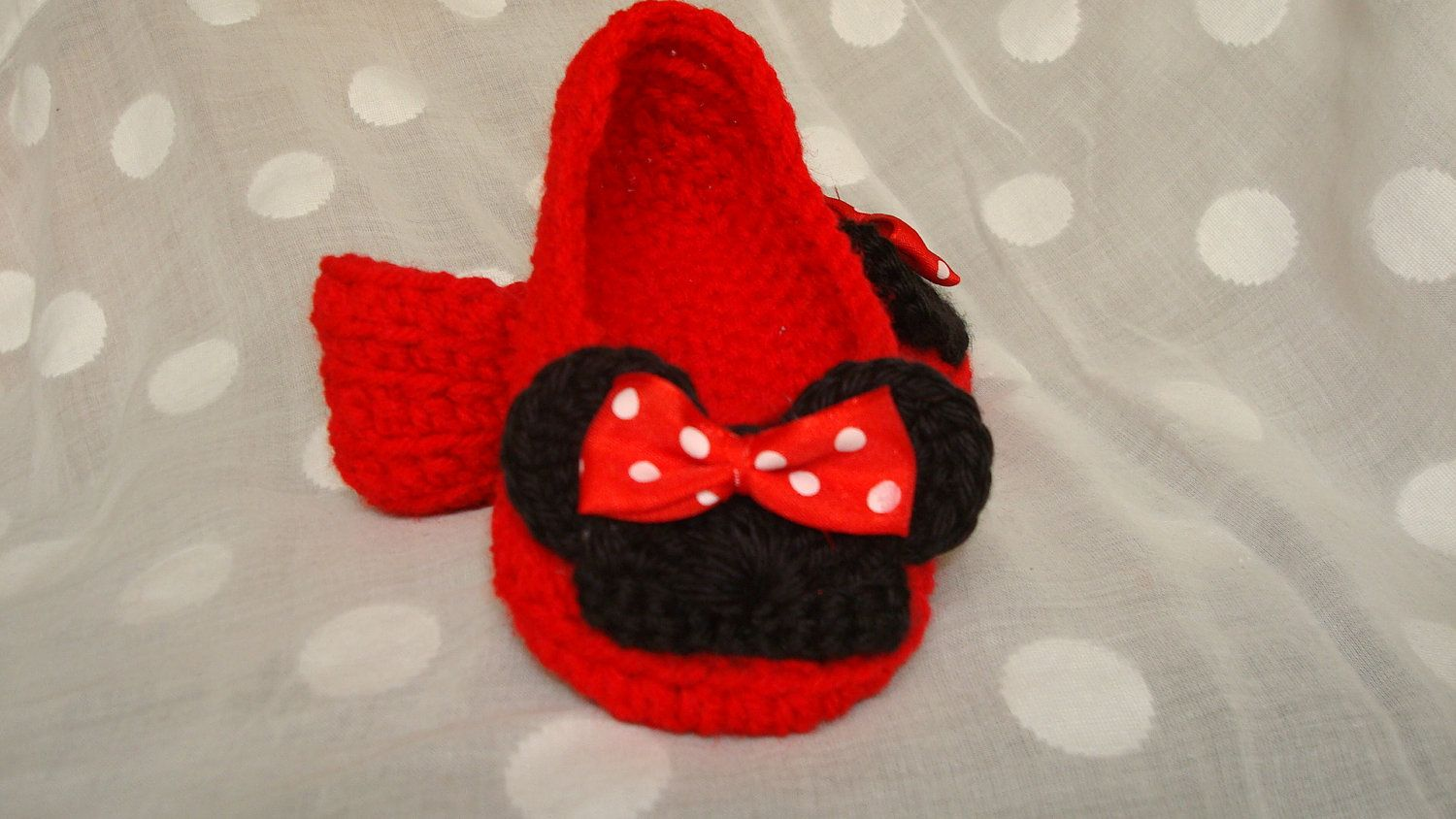 Minnie Mouse Inspired Crochet Slippers Infant to Adult Size 12 (MADE ...