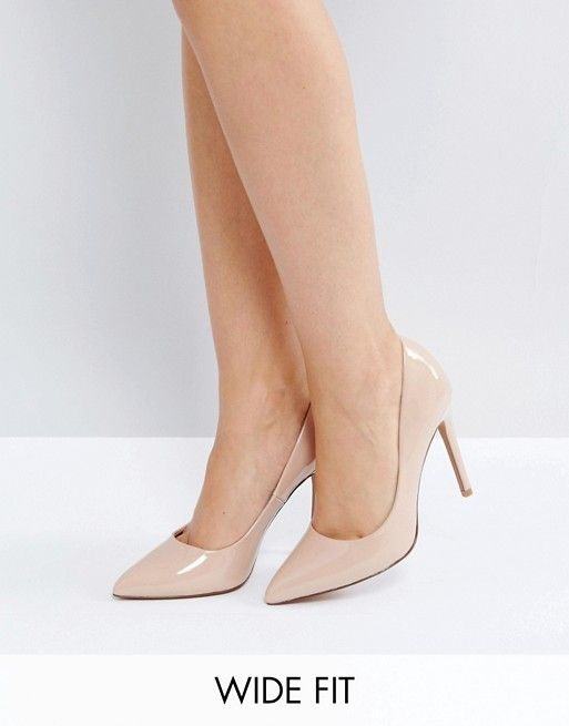 e1e6b6254f4 DESIGN Wide Fit Paris pointed high heeled pumps in almond in 2019 ...