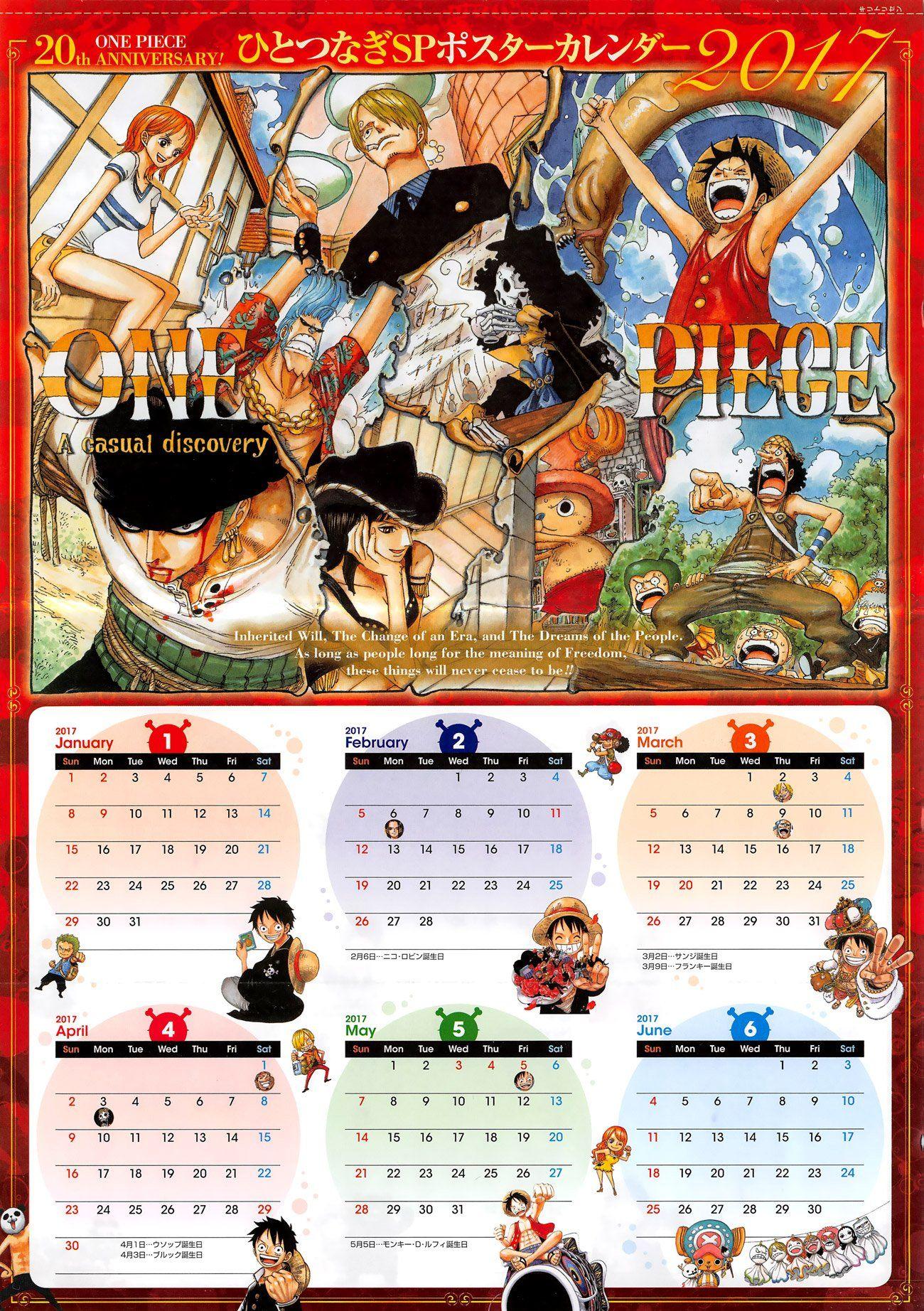 One Piece Calendar 2017 Bộ lịch One Piece cho năm mới