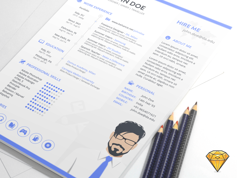 Resume Template Sketch Freebie Download Free Resource For Sketch