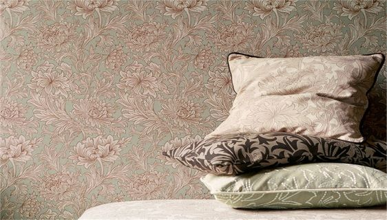 by William Morris  'Chrysanthemum Toile' by William Morris was inspired by the metal outline of the embossed and gilded Chrysanthemum wallpaper produced by Jeffrey & Co. in the 1880s.   This beautiful wallpaper has been highlighted in metallic inks using the surflex printing method  click here if you wish to order samples  straight match pattern repeat 20 in roll width 20.5 in, length 33 ft  coverage 56 sq ft
